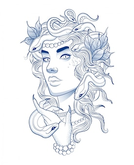 Piękna dziewczyna z fryzurą węża