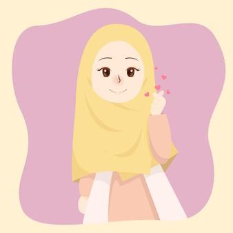 Piękna dziewczyna z hidżabem z sercami w dłoniach