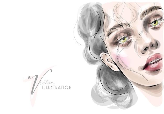 Piękna dziewczyna z jasnymi oczami i makijażem na twarzy