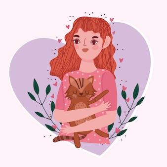 Piękna dziewczyna z kotem w sercu z kreskówki liści, ilustracja koncepcja pieścić
