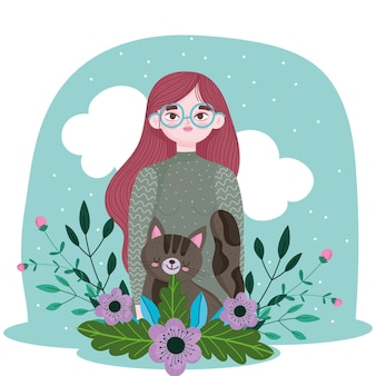 Piękna dziewczyna z kreskówki dekoracji kot i kwiaty, ilustracja koncepcja pieścić
