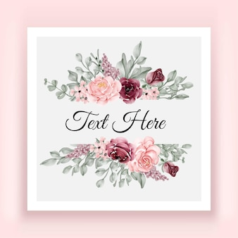 Piękna elegancka rama akwarela kwiat róży