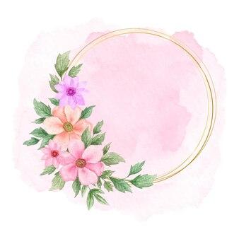 Piękna elegancka ramka z akwarelą z różowym pluskiem