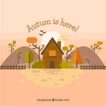 Piękna farma i jesienny krajobraz