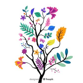 Piękna gałąź kwiatowy w płaska konstrukcja