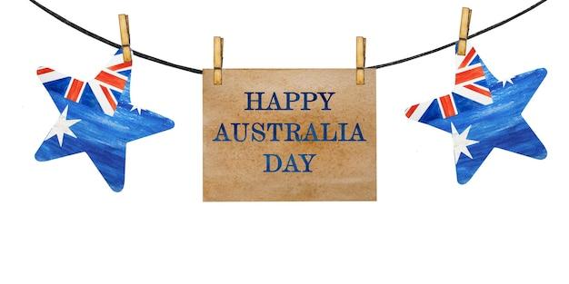 Piękna girlanda z małymi flagami australii.