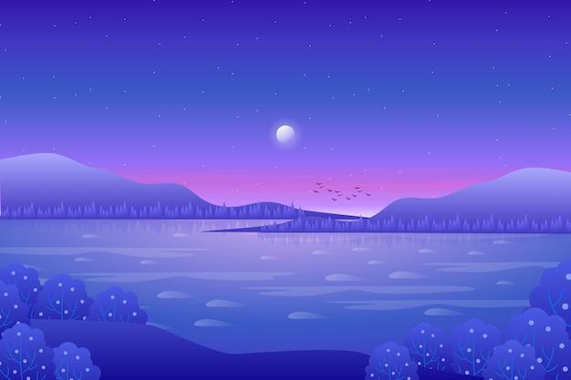 Piękna góra i niebieskie niebo z dennym widokiem