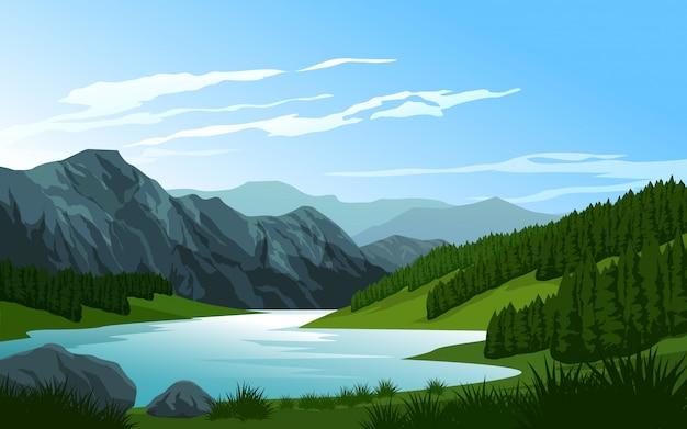 Piękna góra i rzeka z sosnami