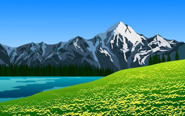 Piękna górska sceneria z jeziorem i łąką