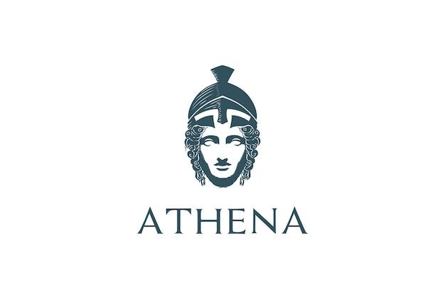 Piękna grecka rzymska bogini minerwa głowy rzeźby logo design vector
