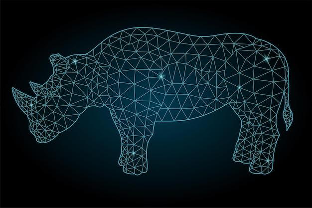 Piękna gwiaździsta ilustracja low poly ze stylizowaną kolorową niebieską błyszczącą sylwetką nosorożca na ciemnym tle