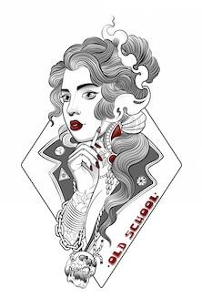 Piękna hipisowska dziewczyna pali papierosa