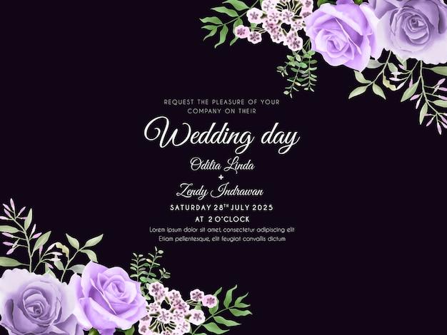 Piękna i elegancka karta kwiatowy zaproszenie na ślub akwarela
