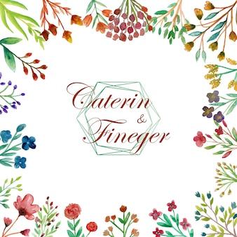 Piękna i kolorowa akwarelowa karta ślubna z dzikim kwiatem