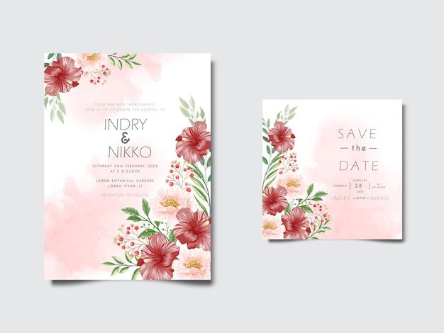 Piękna i romantyczna karta zaproszenie na ślub kwiatowy