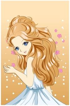 Piękna i urocza księżniczka z ilustracją długich blond włosów