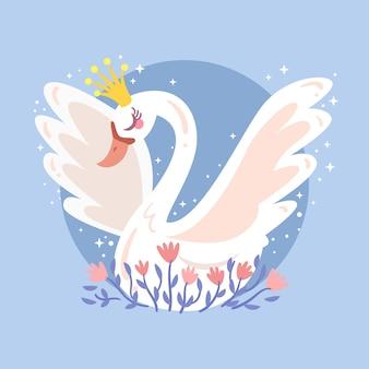 Piękna ilustracja białej łabędzi princess
