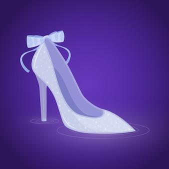 Piękna ilustracja buta ze szkła kopciuszka