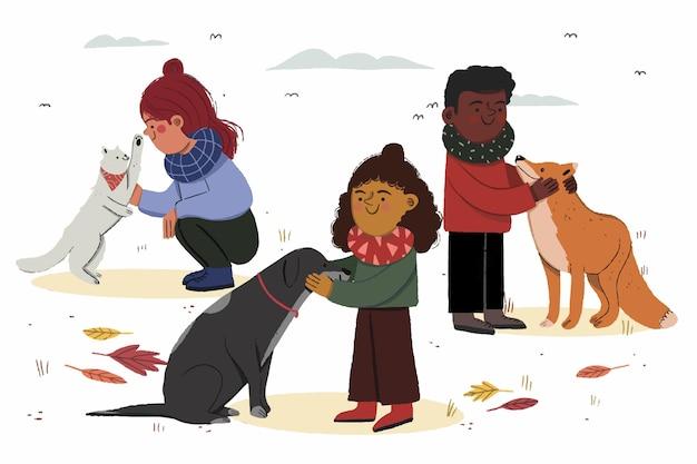 Piękna ilustracja jesiennych dzieci i zwierząt domowych