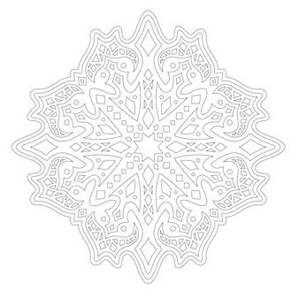 Piękna ilustracja monochromatyczna dla dorosłych kolorowanka z liniowym wzorem geometrycznym na białym tle na białym tle