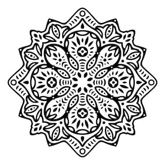 Piękna ilustracja monochromatyczna z abstrakcyjnym czarnym wzorem wschodnim
