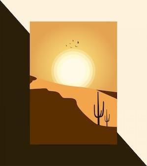 Piękna ilustracja pustyni słońce