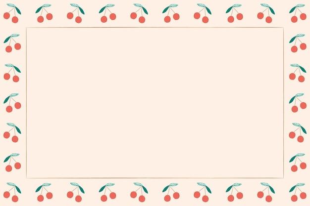 Piękna ilustracja ramki z owocami wiśni