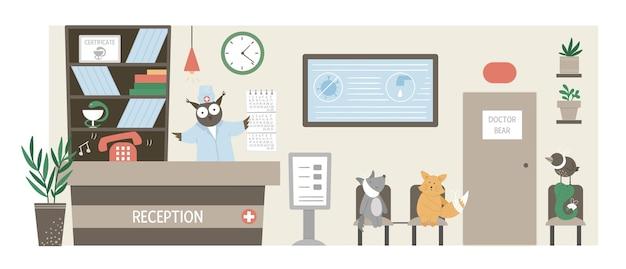Piękna ilustracja recepcji szpitala