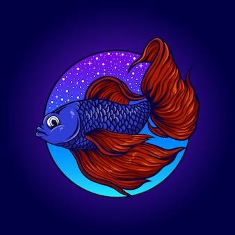 Piękna ilustracja ryby betta