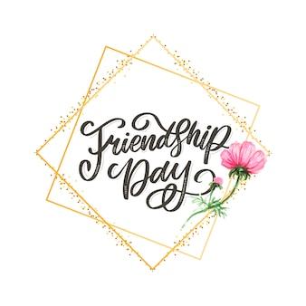 Piękna ilustracja szczęśliwy dzień przyjaźni, zdobione kartkę z życzeniami.