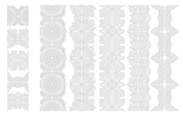 Piękna ilustracja wektorowa monochromatyczne dla dorosłych kolorowanki książki z abstrakcyjnymi fantasy liniowe pędzle zestaw na białym tle na białym tle