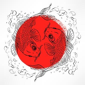 Piękna ilustracja z japońskimi karpiami w czerwonym kółku. ręcznie rysowane ilustracji