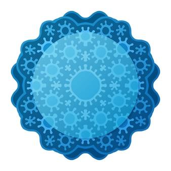 Piękna ilustracja z niebieskim wzorem medycznym i miejsce na kopię na białym tle