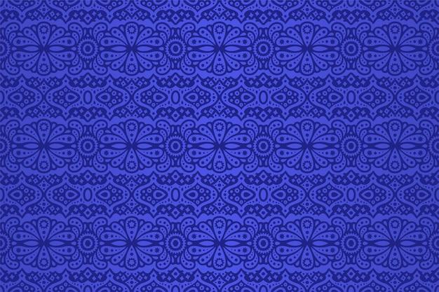Piękna Ilustracja Z Streszczenie Kolorowy Niebieski Wzór Płytki Wschodniej Premium Wektorów