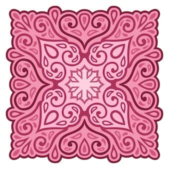 Piękna ilustracja z streszczenie różowy wzór vintage na białym tle