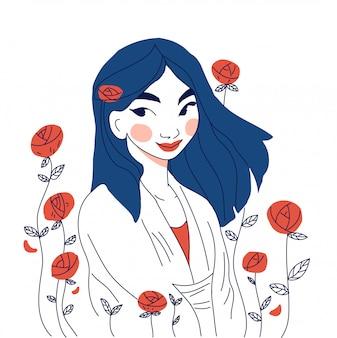 Piękna japonka z różą
