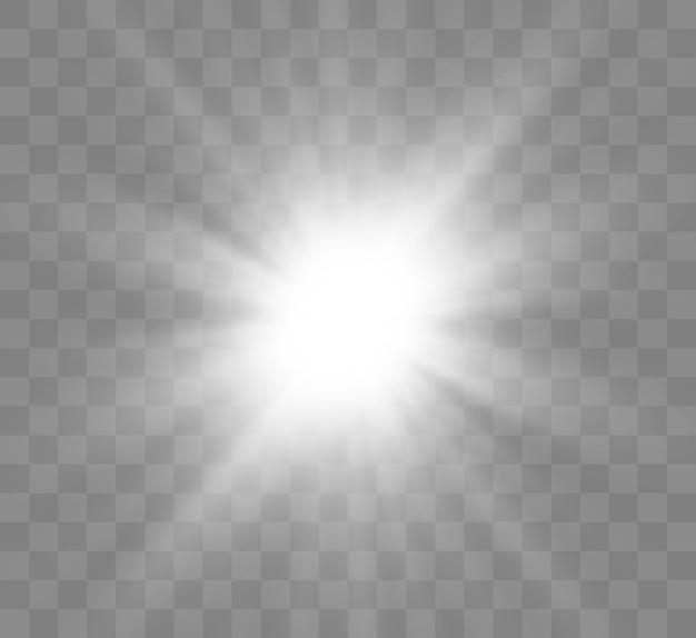 Piękna Jasna Magiczna Wschodząca Gwiazda Z Jasnymi Promieniami. Migocząca Grafika świetlna. Premium Wektorów