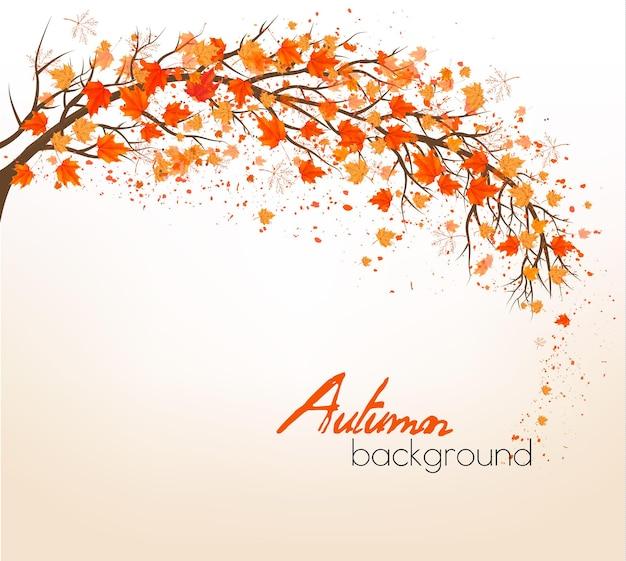 Piękna jesień natura tło z drzewami. wektor.