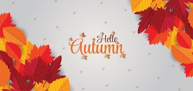 Piękna jesień pisz tło z napisem jasne liście premium wektorów