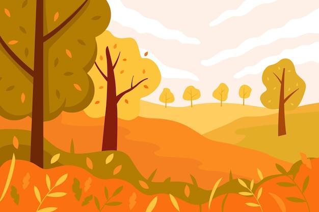 Piękna jesienna ilustracja krajobrazu