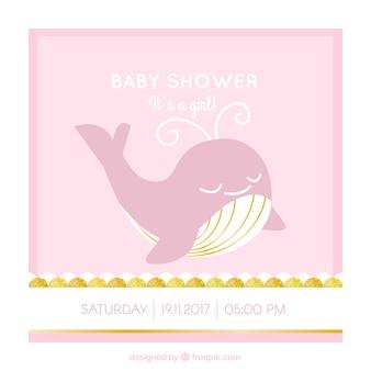Piękna karta baby shower z wieloryba