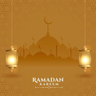 Piękna karta festiwalu ramadan kareem z latarniami