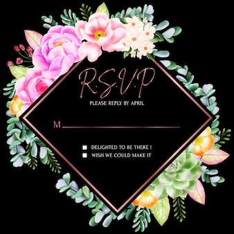 Piękna karta kwiatowy rsvp ramki
