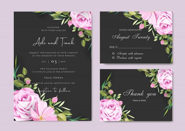 Piękna karta ślub i zaproszenia z ramą kwiatów i liści