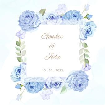 Piękna karta ślub rama kwiatowy