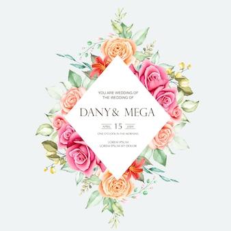 Piękna karta ślub z akwarela kwiatowy i liści
