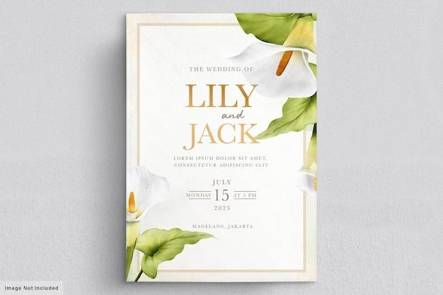 Piękna karta ślubna kwiaty lilii