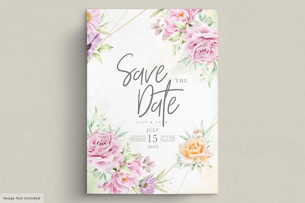 Piękna karta ślubna w kwiaty akwarela