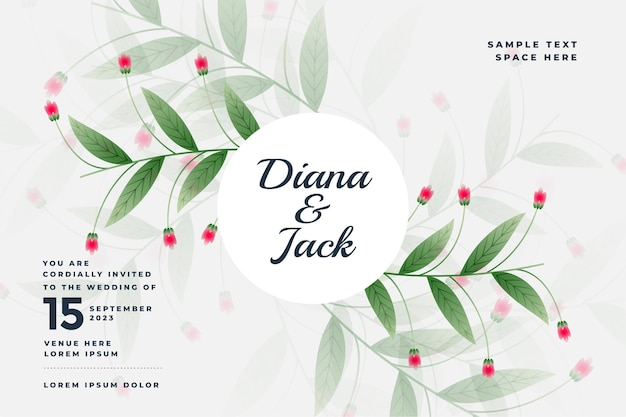 Piękna karta ślubna w stylu kwiatowym
