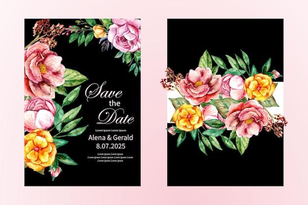 Piękna karta ślubna wiosna akwarela bukiet kwiatów